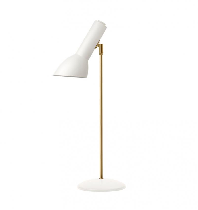 Oblique Bordslampa, Vit/mässing