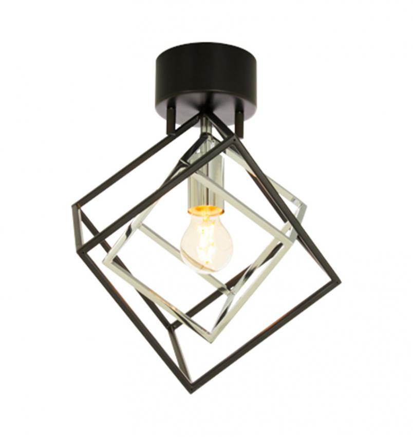 Cubes plafond, svart/krom