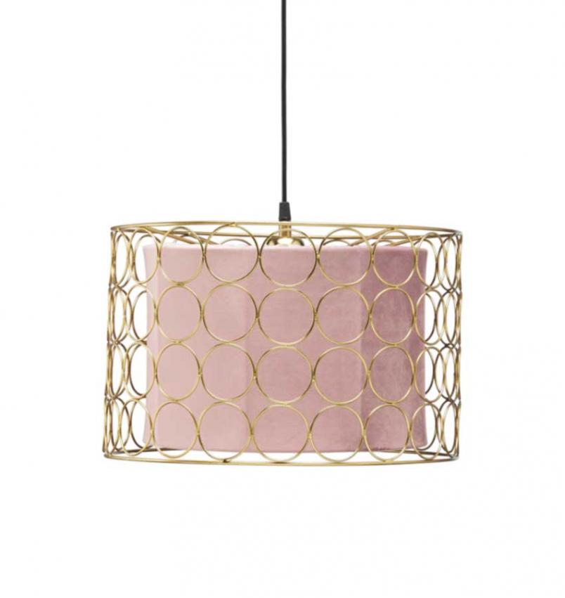 Ring taklampa 40cm guld/rosa