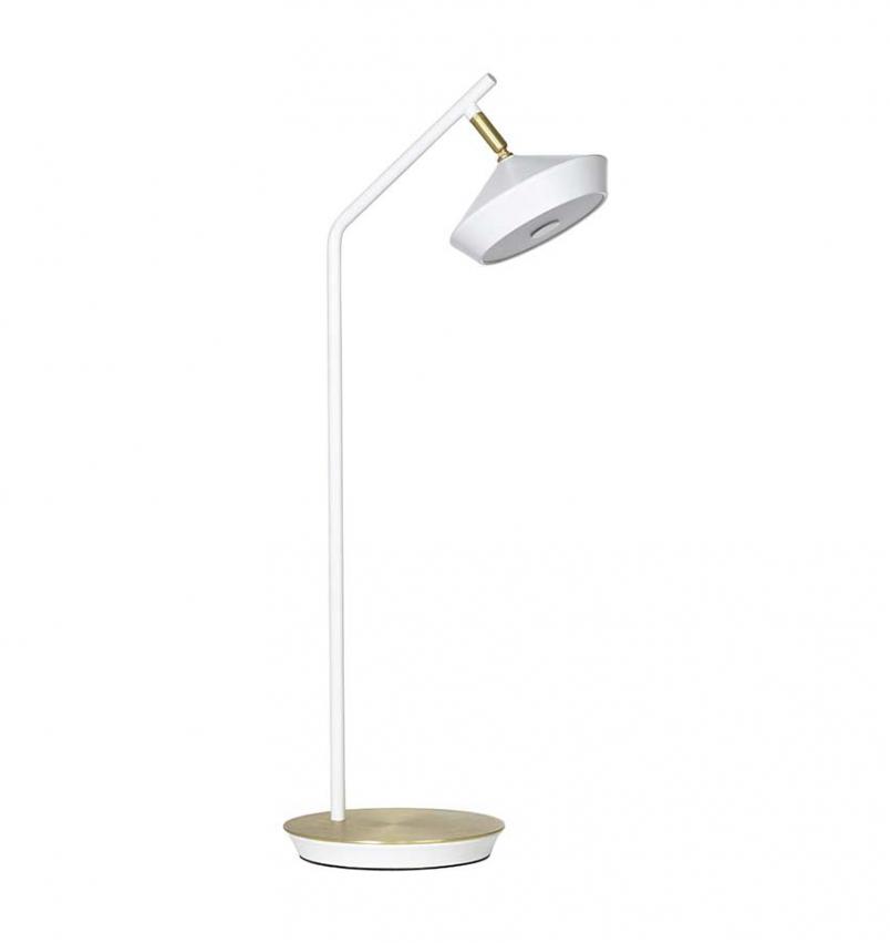 Geometri bordslampa vit/guld