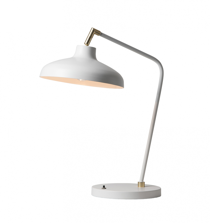 Pelle bordslampa vit