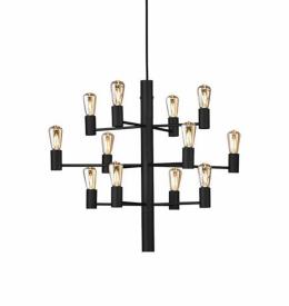 Ljuskrona Manola 12 i svart från Herstal | Inredning online